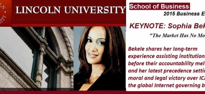 KEYNOTE by Sophia Bekele:  Business Ethics and Victory over the DCA vs ICANN IRP